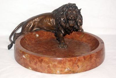 Large antique Bronze - Lion mounted on Marble - Plate / Business cards - Plate