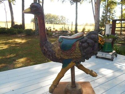 Vintage Carousel Style Large Carved Ostrich - Emu