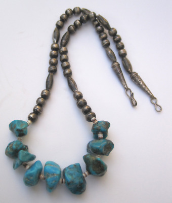 NO RESERVE STUNNING Old Pawn Navajo  .925 & Blue Gem Turquoise Necklace