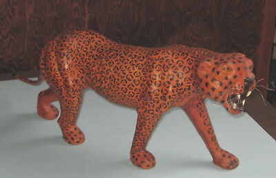 "Leather LEOPARD handmade statue10""x28"" WILD LIVING ROOM ANIMAL won't eat much"