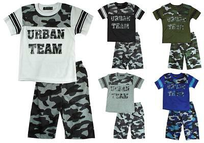 Boys Urban Team T-Shirt Top & Army Camo Camouflage Shorts Set 2 to 10 Years