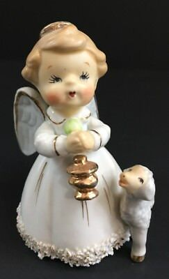 Vintage Lefton Angel And Lamb Ceramic Figurine Bell RARE Christmas Collectible