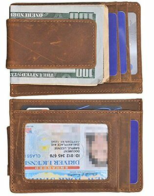 Clip Mens Wallet RFID Slim Genuine Horse Leather Thin Front Pocket Brown ID Wind