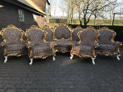 Antique Baroque Living Room Set: Sofa/settee With 4 Chairs