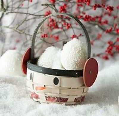 Longaberger 2017 Holiday Earmuff Flurry Snowman basket & prot EXTENDED DELIVERY