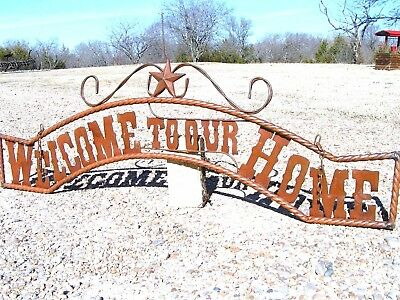 Extra LARGE Metal Welcome to our HOME Sign Wall Entry Gate 56 1/2 inch