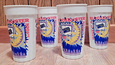 Set of 4 MAKE IT A BLOCKBUSTER NIGHT Video 21oz Cup Tumbler Sterling Products D2