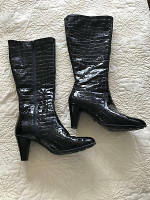 d6e65e2d673 LA CANADIENNE MEBELLE Crocodile Patent Leather Boots Waterproof ...