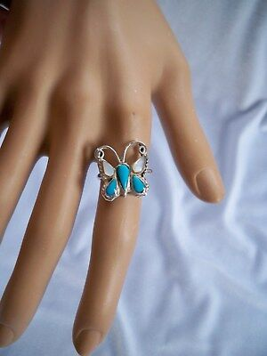 Vintage Southwestern Turquoise & Mother of Pearl Butterfly Silver Ring Size 6