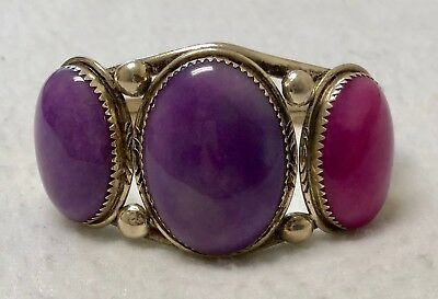 Old Pawn Navajo Sterling Silver Sugilite Cabochon Cuff Bracelet Jason Livingston