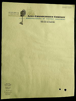 AJAX-CONSOLIDATED Co. Manufacturers of Railway Equipment Chicago LETTERHEAD