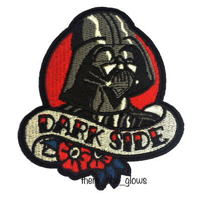 *Dark Side* Star Wars Darth Vader Tattoo style Iron On Embroidered Patch (badge)