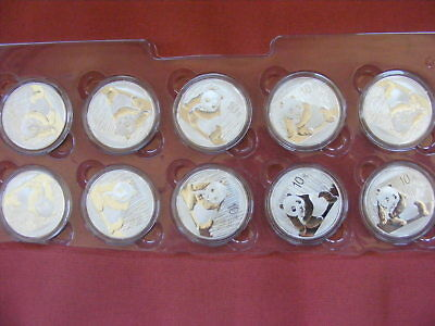2015 panda Coins 1oz .999 SILVER Lot of 10 Mint in SHEET-NO RESERVE