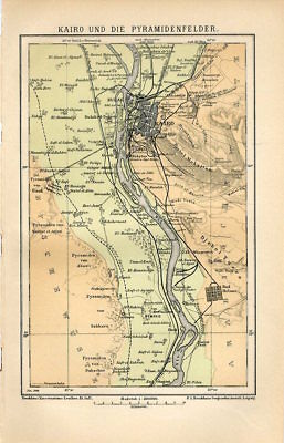 1899 EGYPT CAIRO CITY and PYRAMIDS Antique Map dated