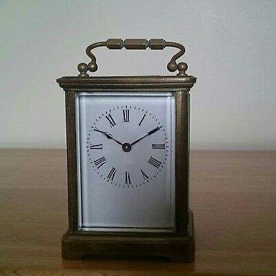 Antique French Four Glass Brass 8 day Carriage Clock.