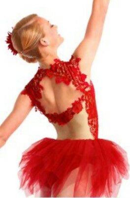 Always Remember Red Lace Tutu Contemporary Ballet Curtain Call Dance Costume ASM