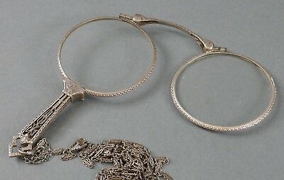 Antique Victorian Sterling Silver Pair Loop Reading Glasses Estate Find