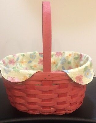 Longaberger Pink Oval Spring Basket Perfect For Easter Very Good Condition