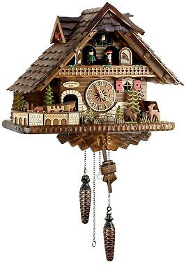 Engstler Locomotive Train 36cm- 45110 Qmt Cuckoo Clock Real Wood New Battery
