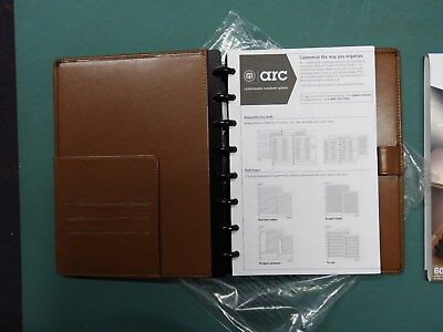 Arc Customizable Notebook System Brown Leather, 5.5X8.5  60 sheets, Staples, NEW