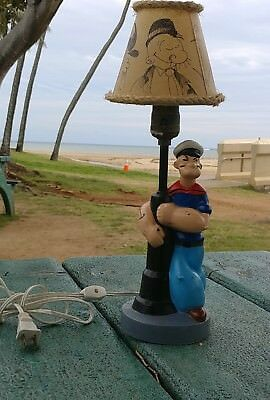 RARE 1935 POPEYE LAMP BY IDEALITE METAL swee pea OLIVE OYL BRUTUS WIMPY SHADE
