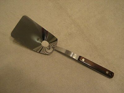 Vintage EKCO Flint Stainless Vanadium USA Strainer Spatula With Wood Handle