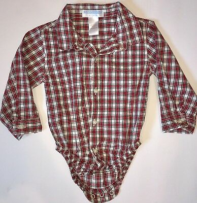 47d208623566 JANIE AND JACK Baby Boy 12-18m Red Plaid Bodysuit Button Up Shirt 12m 18m -   13.49