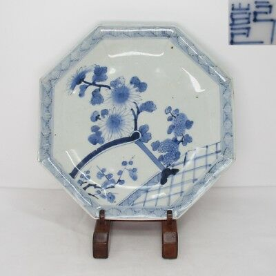 G661 Real Japanese old IMARI blue-and-white porcelain octagonal plate as KASHIKI