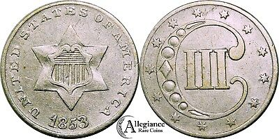 1853 3cs Three Cent Silver Piece RPD-005 REPUNCHED DATE high grade rare old coin