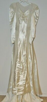 1940's Satin Wedding Gown w Lace / Train Matching Slip SM