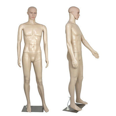 Full Body Male Mannequin Realistic Display Head Turns Dress Form w/ Base