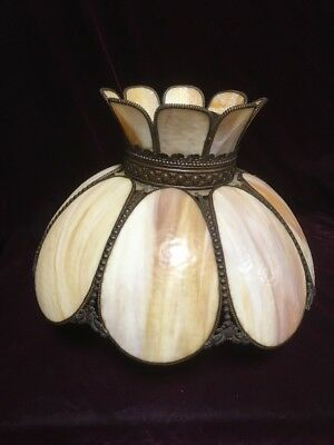 VTG. Victorian Tulip Caramel Marble Slag Stained Glass Hanging Lamp Fixture