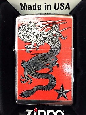 Zippo Dragon W/star High Polished Chrome 250-26028