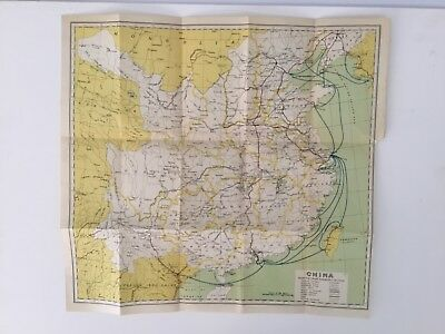 1933 Antique Map Of China  - 85 Year Old Original Map Showing Steamship Routes