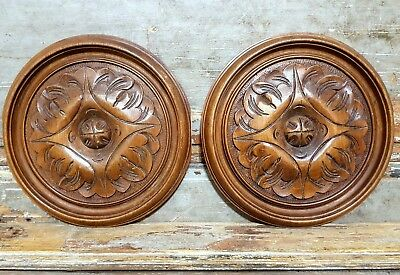 Carved Wood Panel Matched Pair Antique French Gothic Rosace Salvaged Carving