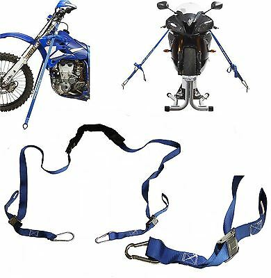 Motorcycle Handlebar Tiedown Tie Down with RATCHET Strap SET Motorbike Motocross