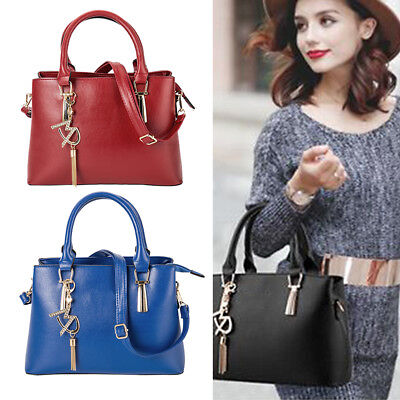 Ladies Designer Long Handle Tote Shoulder Handbag PU Tassel Satchel Bags 04