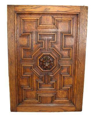 French Architectural Gothic Hand Carved Lion Oak Wood Door Wall Panel 1 Right