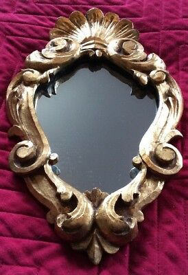 French Rococo Style Antique Small Miniature Boudoir Gilt Mirror 💋