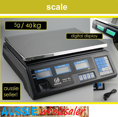 40KG Electronic Kitchen Scale Digital LCD Commercial Shop Weight Scales Food AU