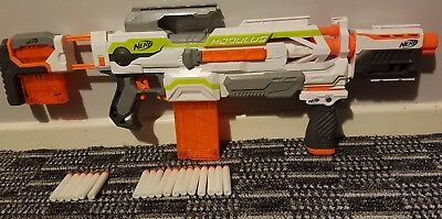 nerf gun modulus + attachments auto fire 2 mags + bullets 19.99p
