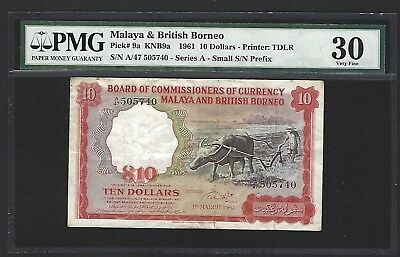 1961 Malaya & British Borneo $10 Dollars, PMG 30, 100% Original VF w/ Embossing
