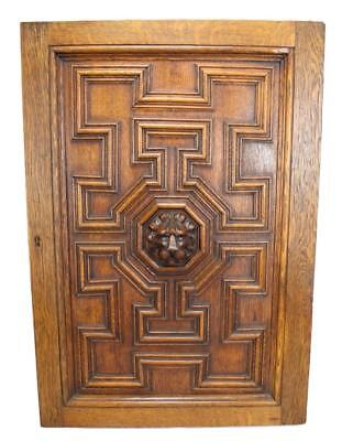 French Architectural Gothic Hand Carved Lion Oak Wood Door Wall Panel 2 Right
