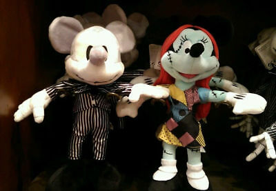 Disney Parks Mickey & Minnie as Jack & Sally NBC Soft 9'' plush soft toys, BNWTS