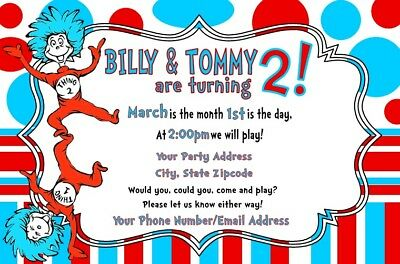 Dr Seuss Thing 1 2 Cat In The Hat Birthday Party Invitations Personalized