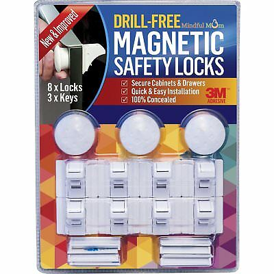 Mindful Mom Drill-Free Magnetic Safety Cabinet and Drawer Locks 3 Keys and 8