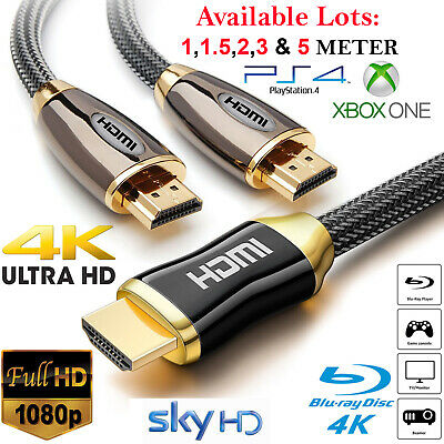 PREMIUM 4K UltraHD HDMI CABLE v2.0 HIGH SPEED GOLD PLATED 2160P 3D HDTV 0.5-5M