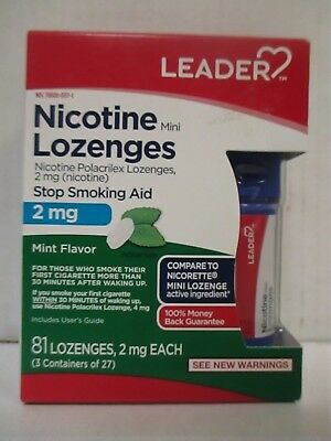 LEADER NICOTINE LOZENGES 2mg MINT FLAVOR 81 COUNT - EXP: 7/18 - RC 6074