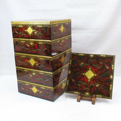 G775 Japanese old HIDEHIRA lacquer ware tier of boxes JUBAKO of appropriate work