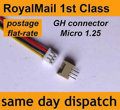 GH 1.25 micro jst connector 2 3 4 5 6 Pin leads 100mm 28 AWG wire PCB header